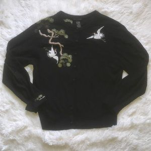 Lucky brand embroidered cardigan sweater szL C4